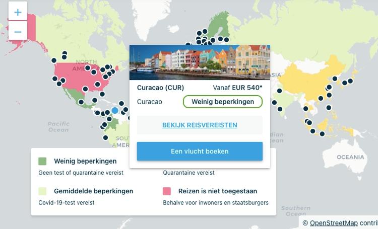 KLM zet interactieve kaart online over reisbeperkingen in de wereld
